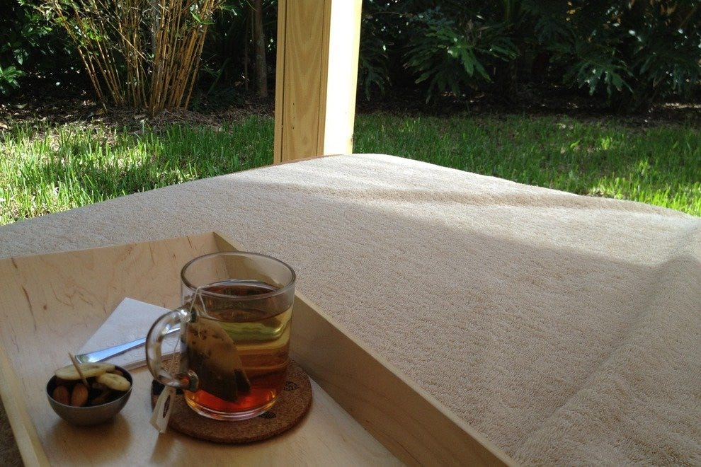 Tea and almonds served in Relaxation area
