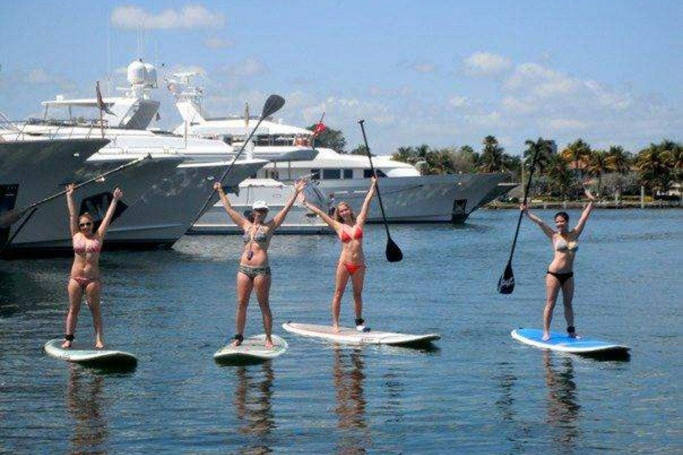 Paddleboarding in Ft. Lauderdale past yachts and mansions