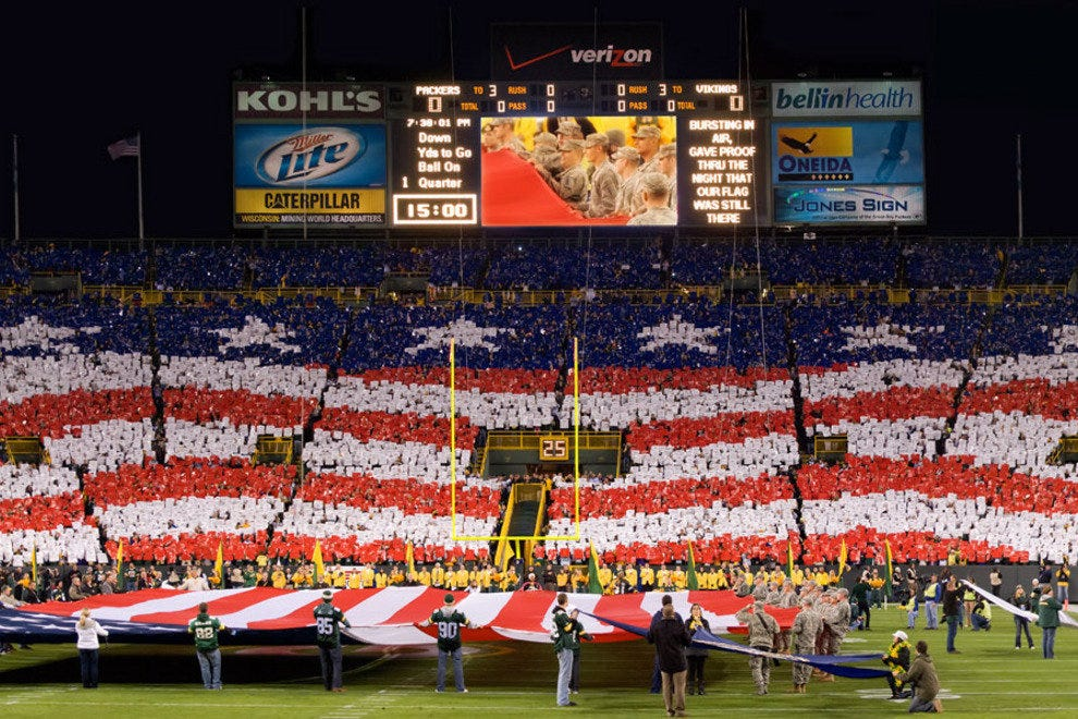 Lambeau Field in Greenbay, Wisconsin during a patriotic ceremony