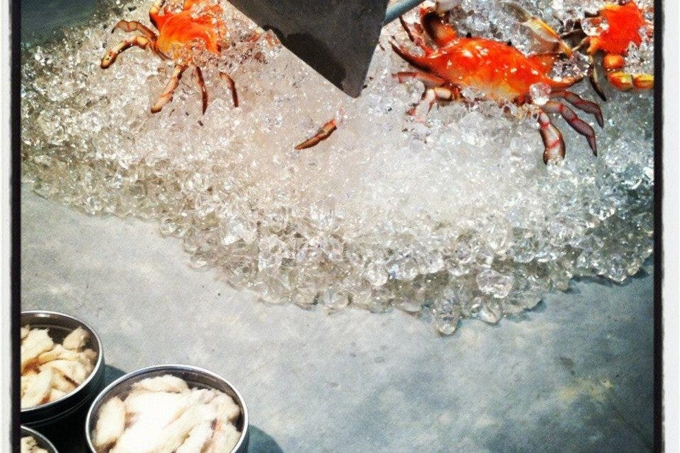 A tasty sight from the museum's crab boiling house exhibit gallery