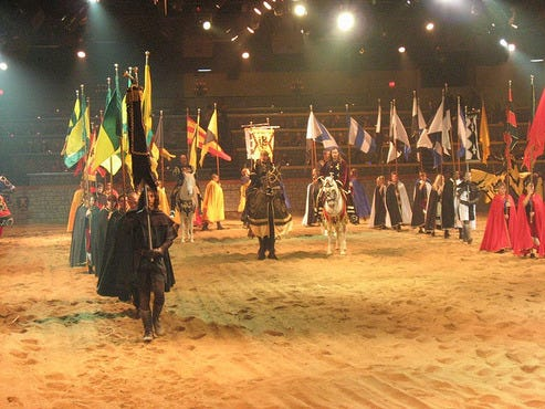Convention Services, Event/Alternative Meeting Venue at Medieval Times Dinner & Tournament in Medieval Times Dinner & Tournament brings history to life with a two-hour medieval tournament and four-course feast. The 70, square foot castle is located on seven acres in the heart of Buena Park's Entertainment Zone. Offering shows days a year, the European-style castle.