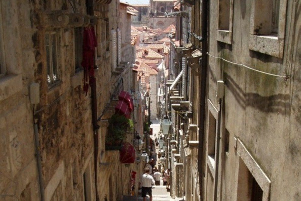Inside the walls of Dubrovnik are narrow roads and walkways.