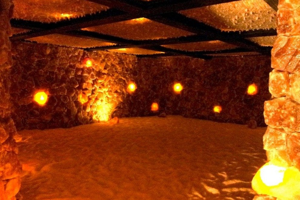 This large salt cave is open for hourly halotherapy sessions.