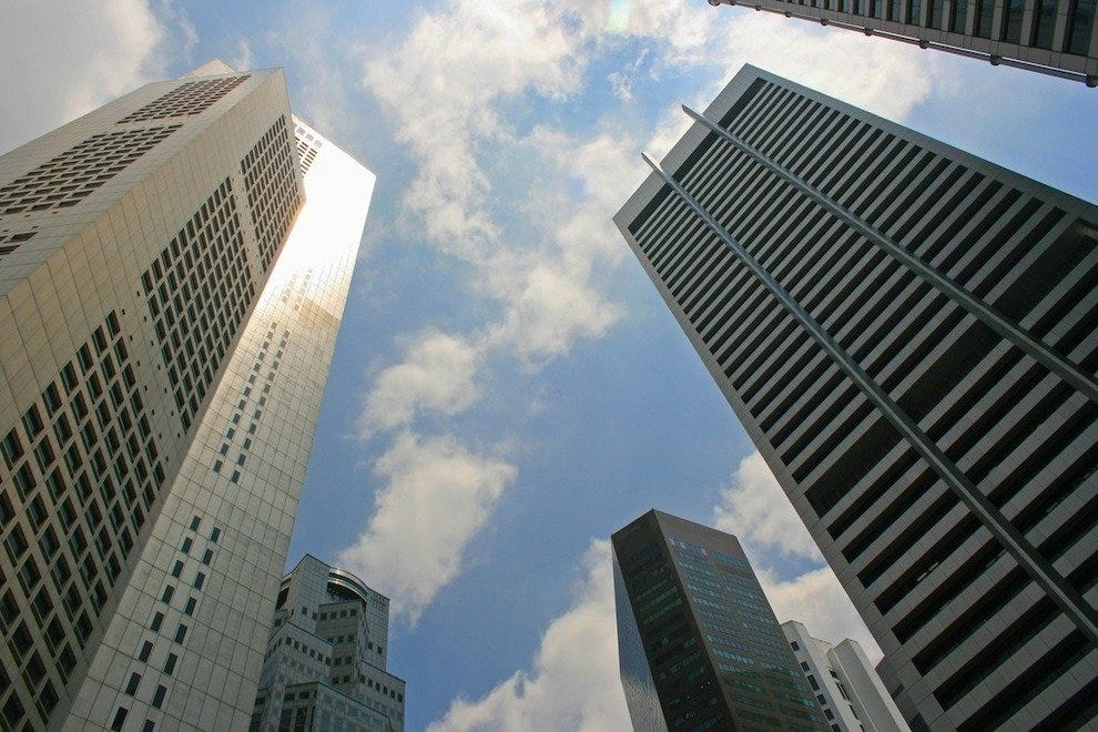 The towering skyscrapers of Raffles Place