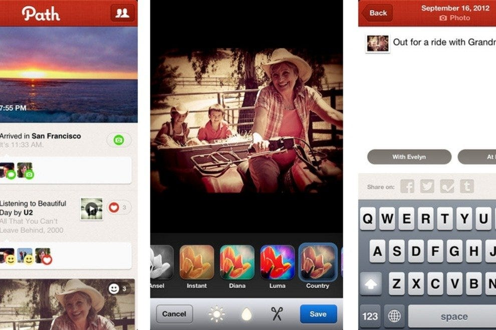 Path app screenshots