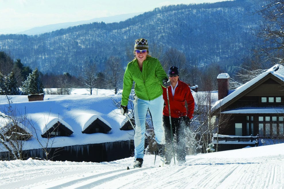 Cross-country skiing near the lodge