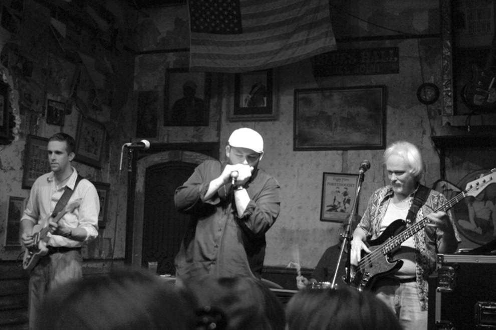 Playing the blues at Mr. Handy's.