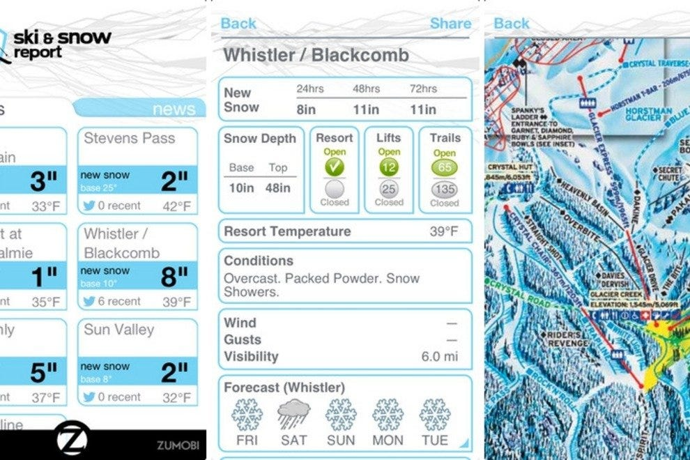 Ski and Snow Report app screenshots
