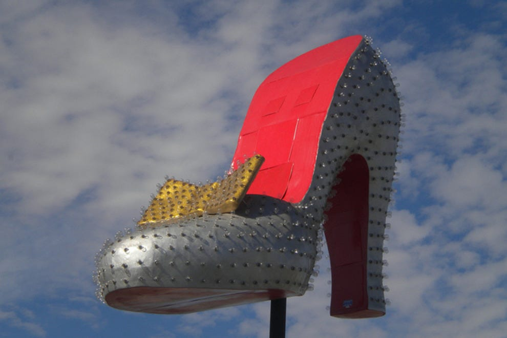 The silver slipper in front of the new visitors center