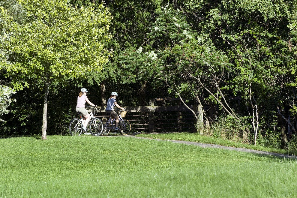 Cyclists enjoying path at Gallup Park in Ann Arbor, Michigan