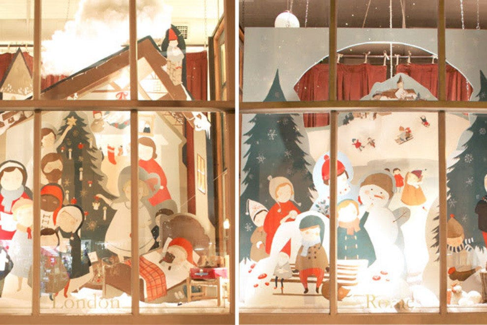 A December window display at the Paris Market & Brocante on Broughton Street