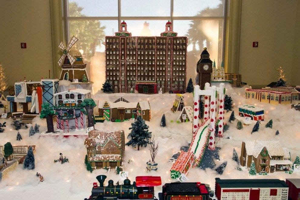 Viewing the gingerbread display at the Westin Savannah Harbor Golf Resort & Spa is a fun, free December activity