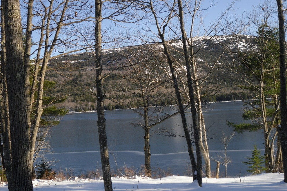Eagle Lake is a popular Nordic skiing destination within Acadia National Park.