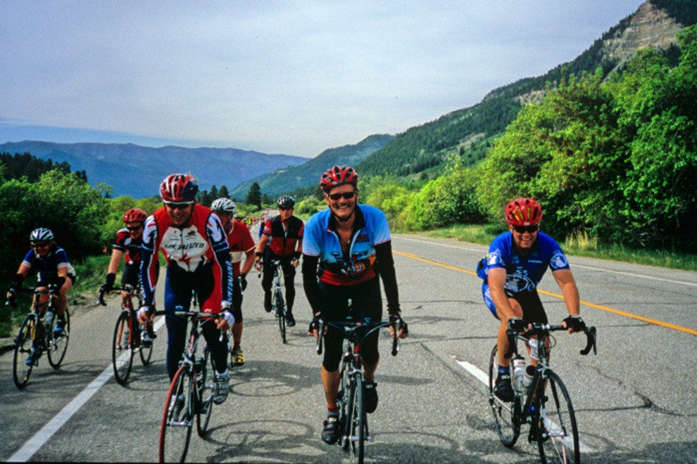 Ned Overend rides the Iron Horse Bicycle Classic with Tom Mayer.