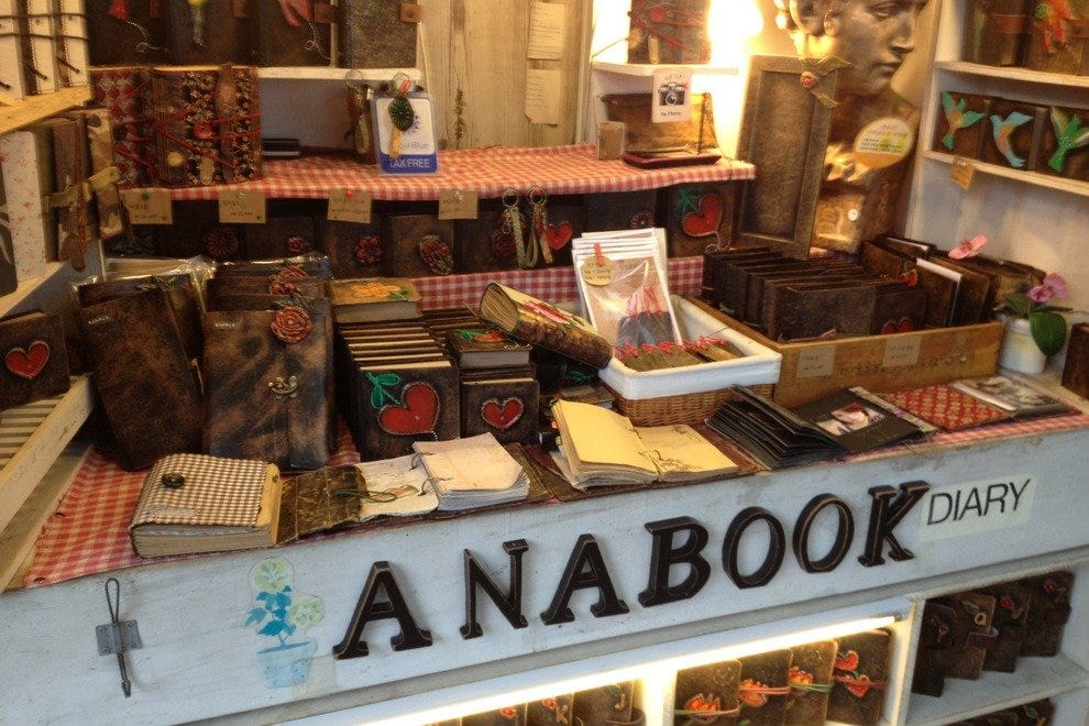 Handcrafted souvenirs, like these diaries and albums, can be found in Insadong.