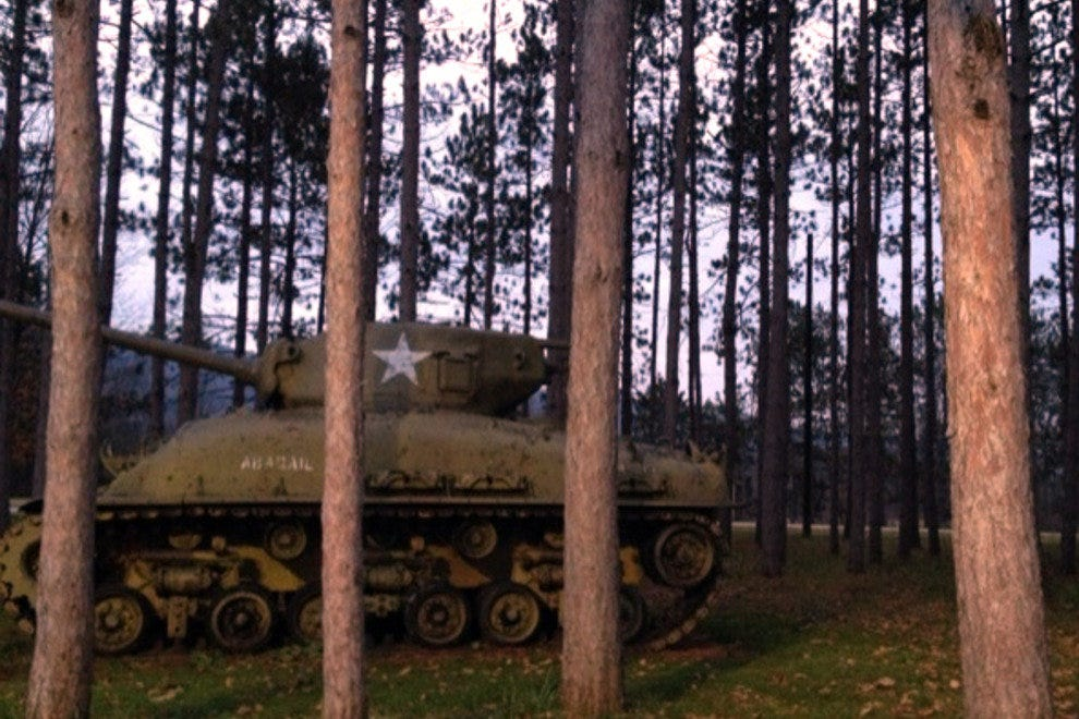 "M4A1 Sherman tank ""hidden"" in the woods"