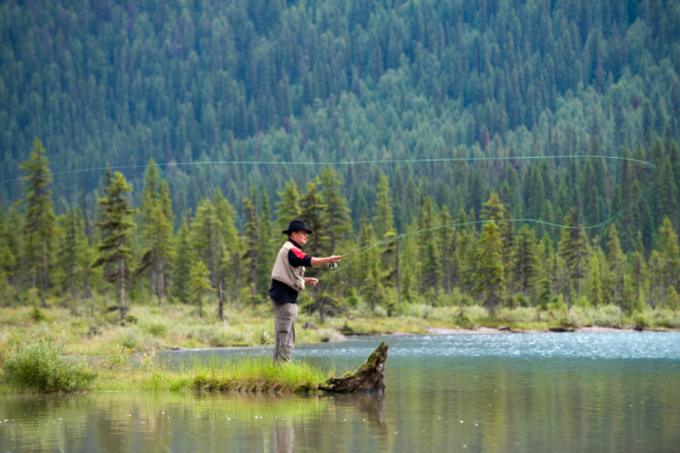 Fishing on Emerald Lake in Yoho National Park