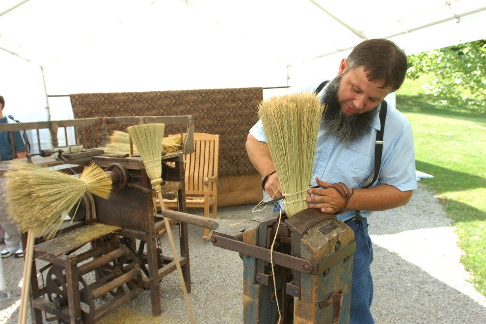 Amish broom maker