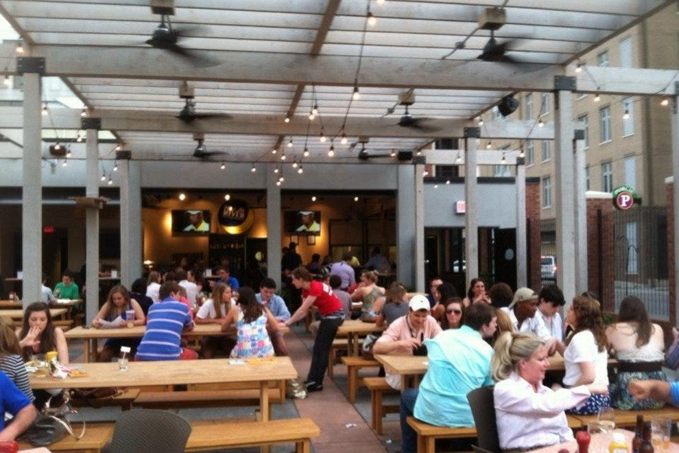 The Beer Garden becomes an indoor/outdoor space when the garage doors are opened