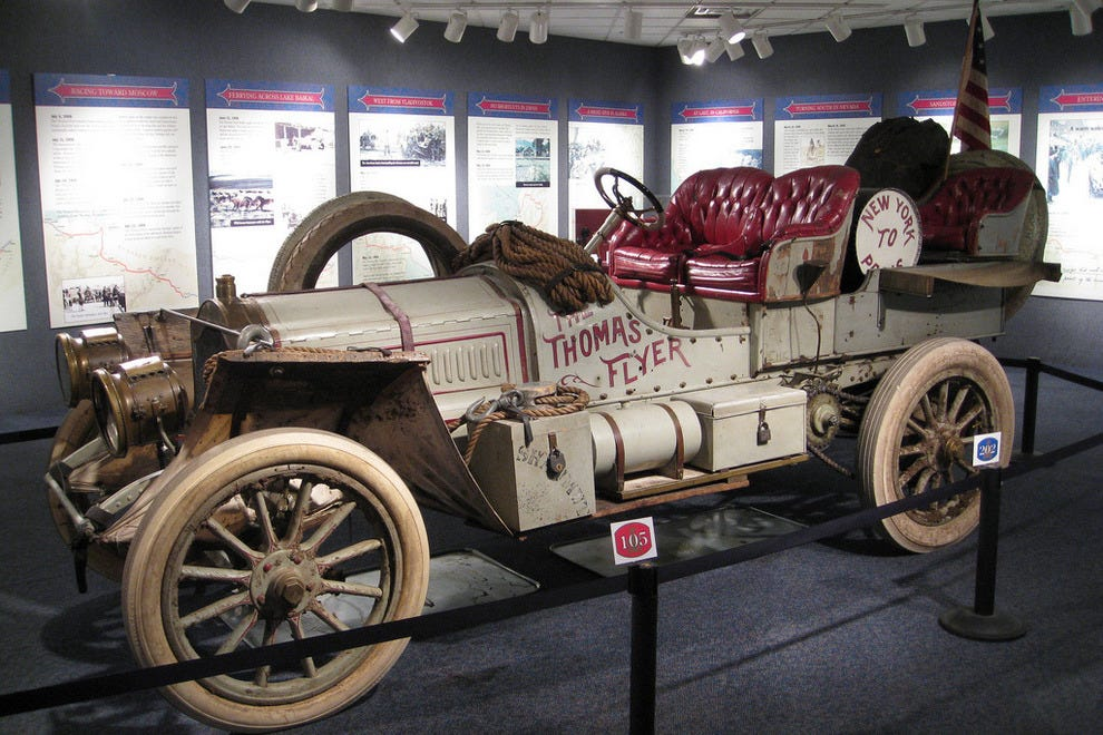 One of the museums most prized cars: the Thomas Flyer that won the 1908 New York to Paris race