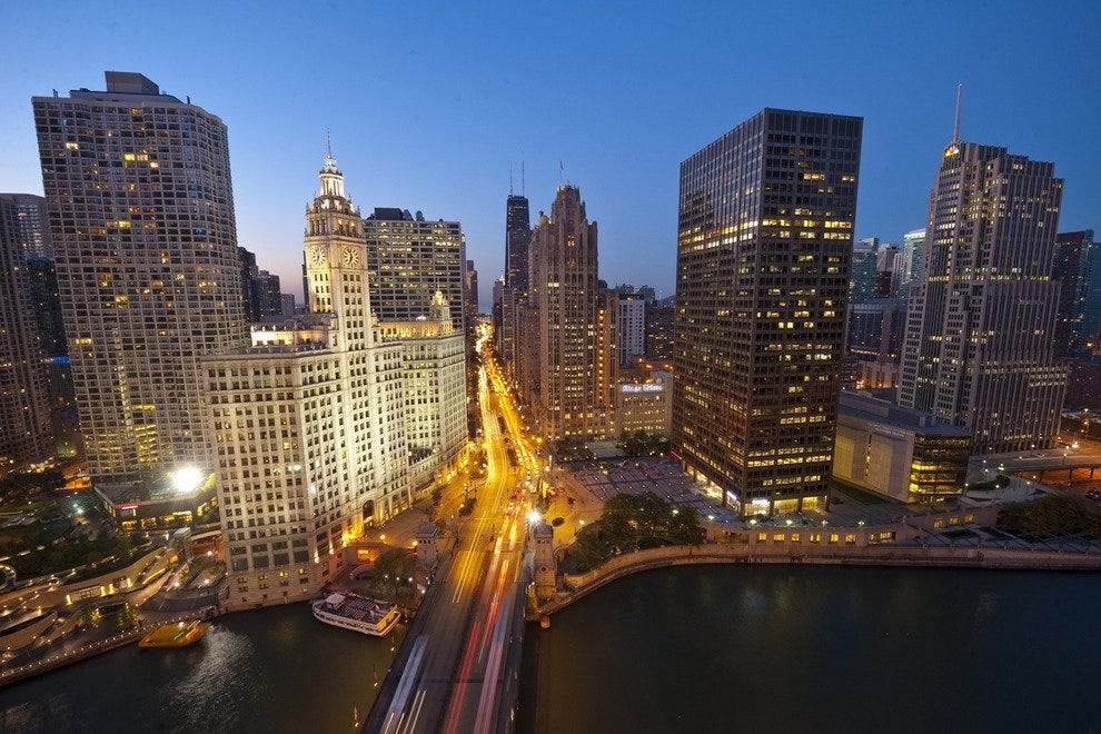 Chicago's Magnificent Mile at dusk