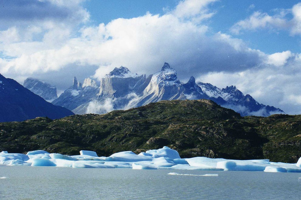 Icebergs with Torres del Paine in the background