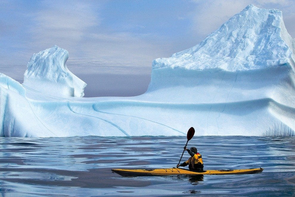 "Kayaker in ""Iceberg Alley"""
