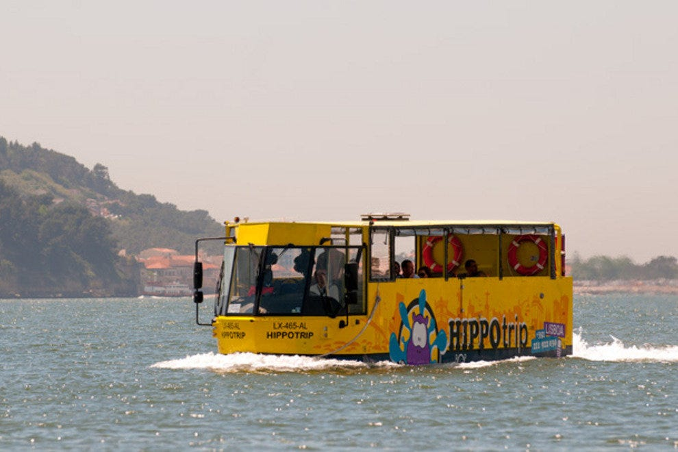 Half bus, half boat - the Hippotrip sightseeing excursion takes to the water after hitting the streets