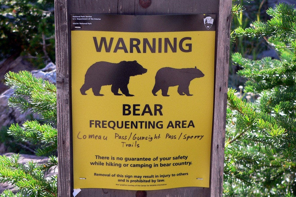 Bear warning along a Glacier National Park trail