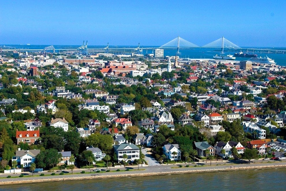 Aerial view of Charleston's waterfront neighborhood