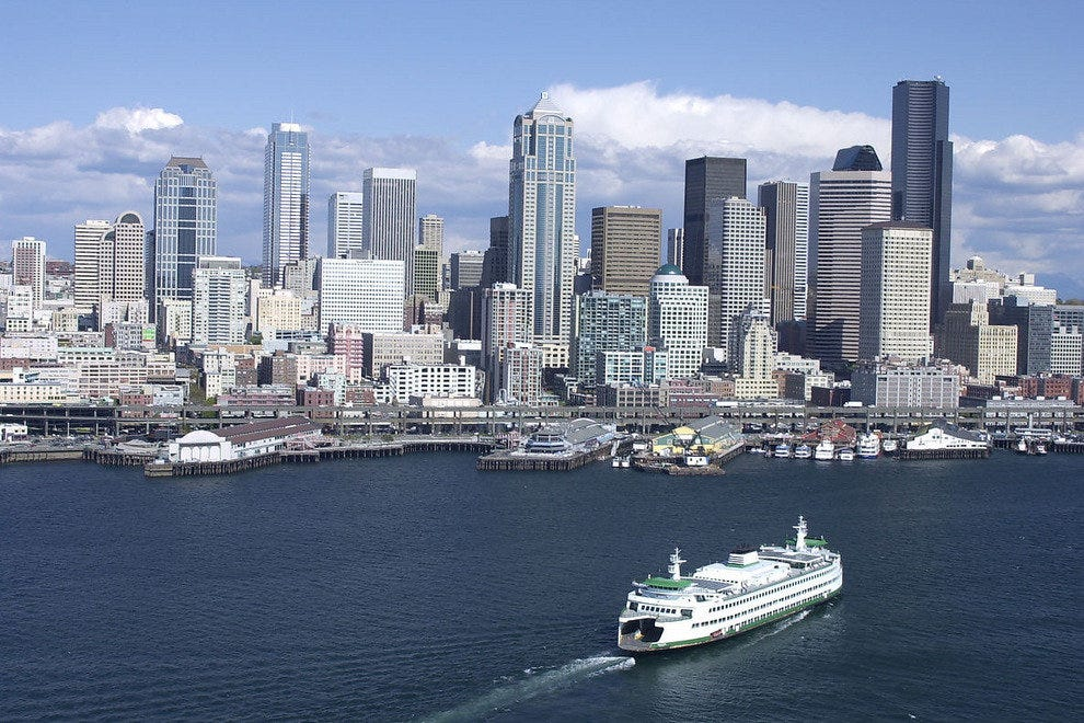 Ferry in front of the Seattle skyline