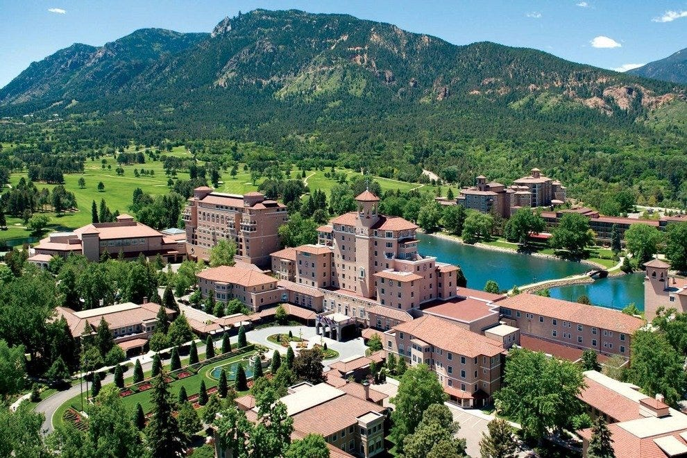 Aerial view of the historic Broadmoor Hotel