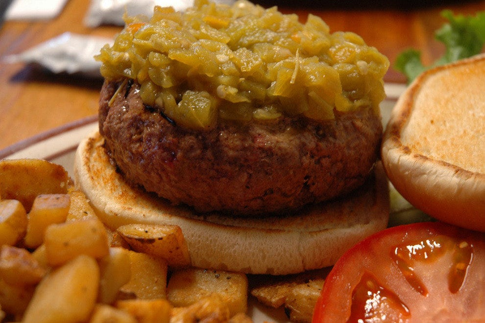 Famous New Mexico green chile cheeseburger