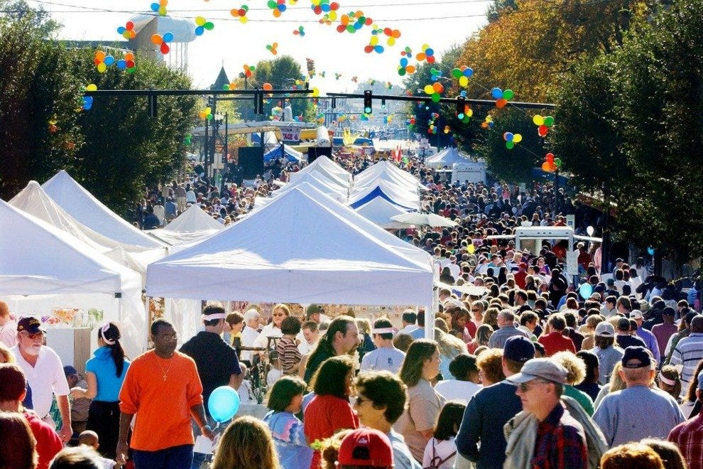 More than 100,000 people crowd into tiny Lexington, NC for the Barbecue Festival each October.