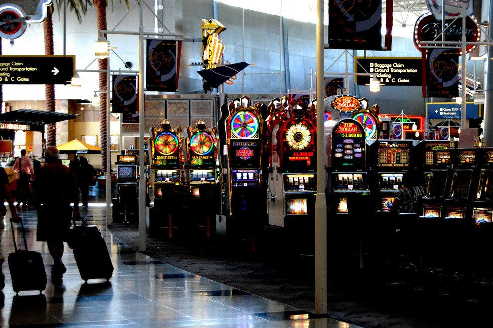 Slot machines are scattered throughout McCarran