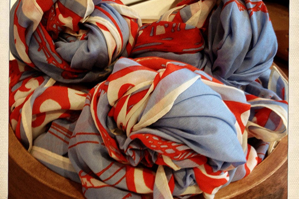 A bowl of scarves welcome summer at Madewell