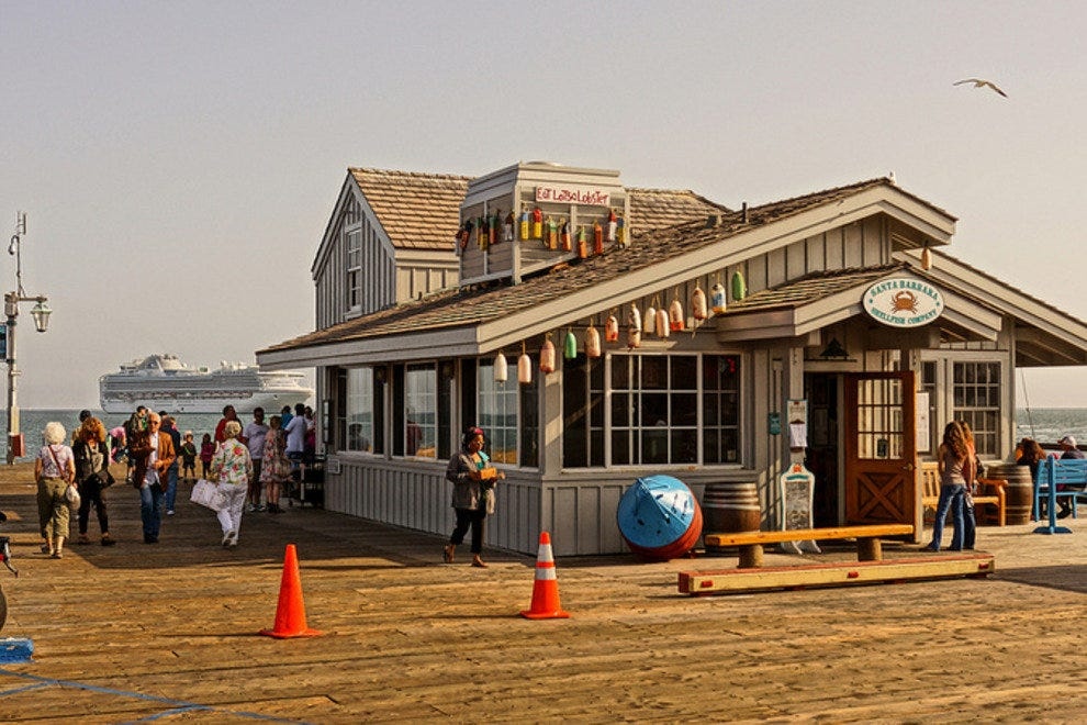 Visit Stearns Wharf for seafood and a little souvenir shopping