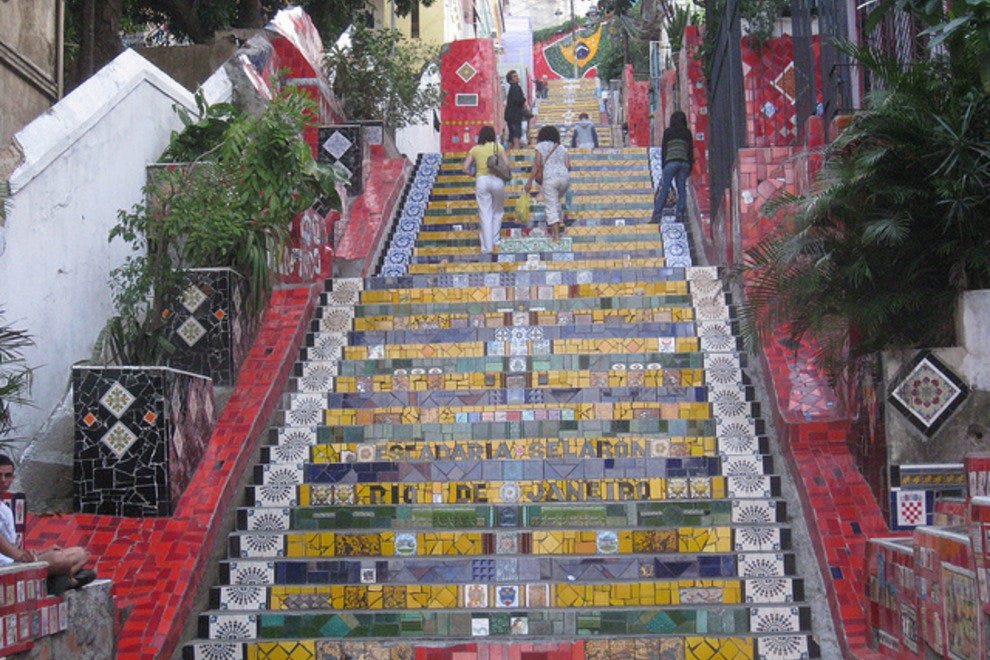 The iconic Lapa Steps lead from downtown to Santa Teresa