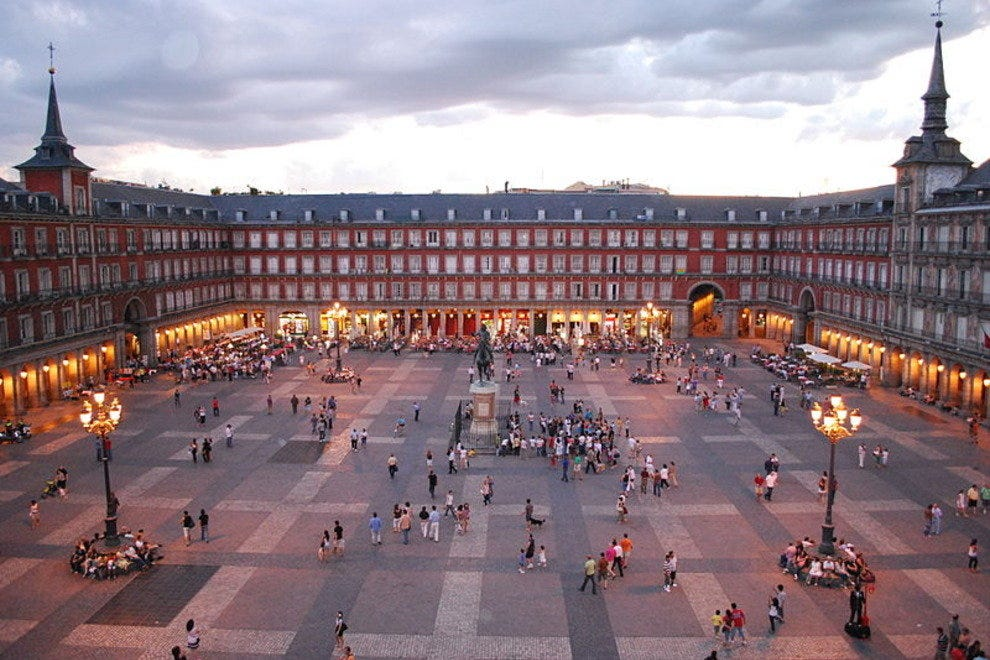 Looking across Madrid's Plaza Mayor