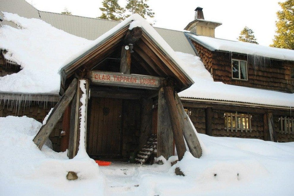The lodge can sometimes be covered in snow in the winter