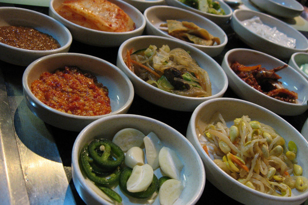 An assortment of banchan, or Korean side dishes