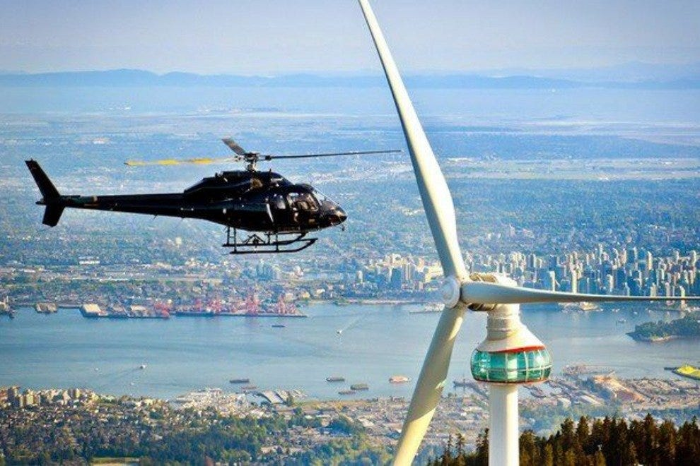 Helicopter tours around Grouse Mountain.