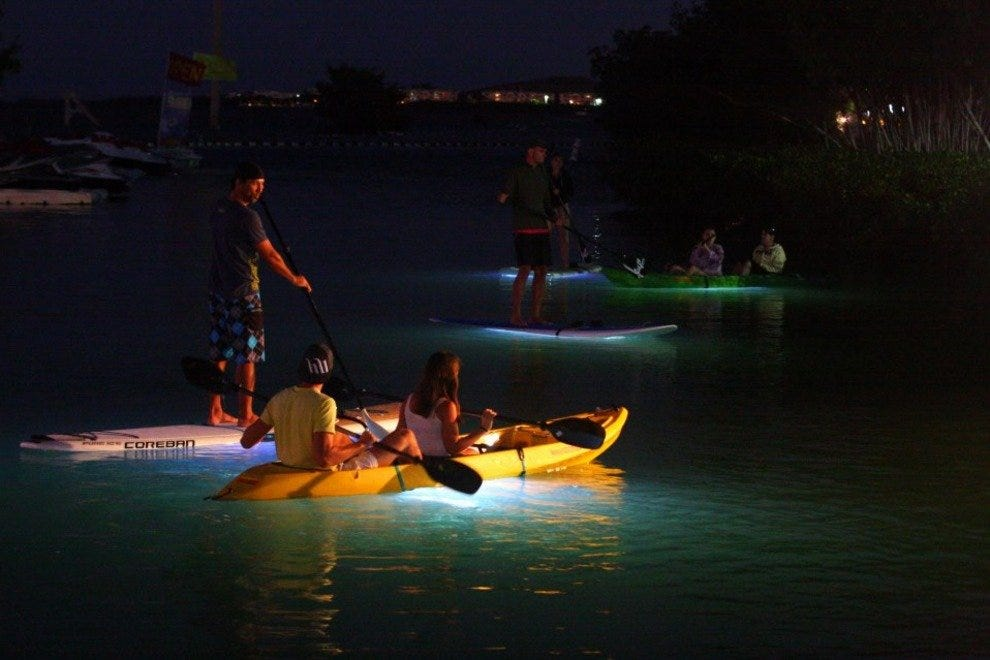 Nightboarding and kayaking