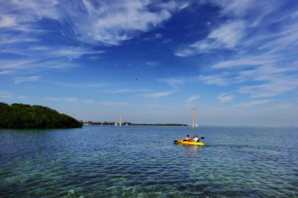 Kayaking on the crystal clear water of Ibis Bay