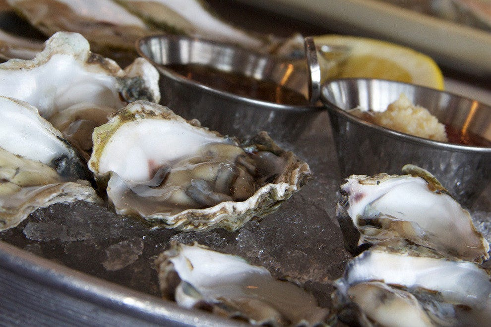 Raw oysters, a Massachusetts specialty