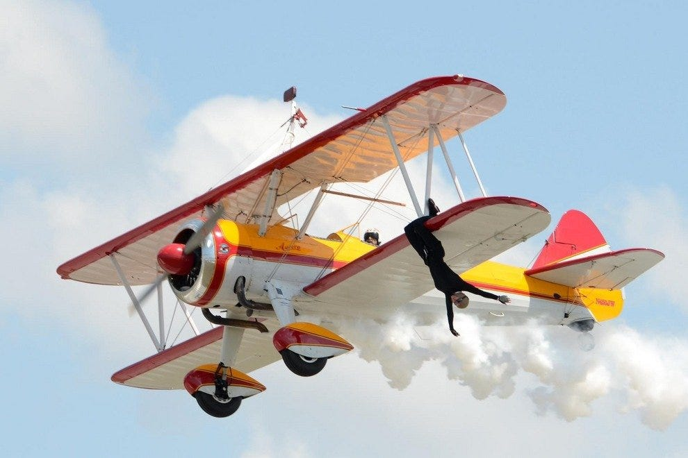 Jane Wicker performing stunts at Florida International Air Show