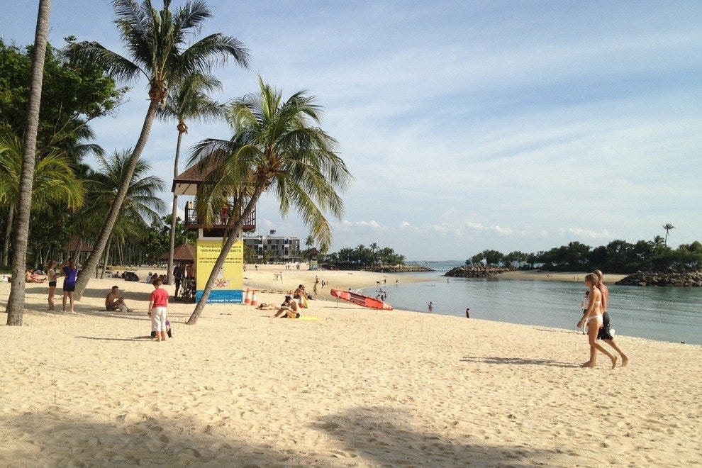 Sandy beaches line the southern coast of Sentosa