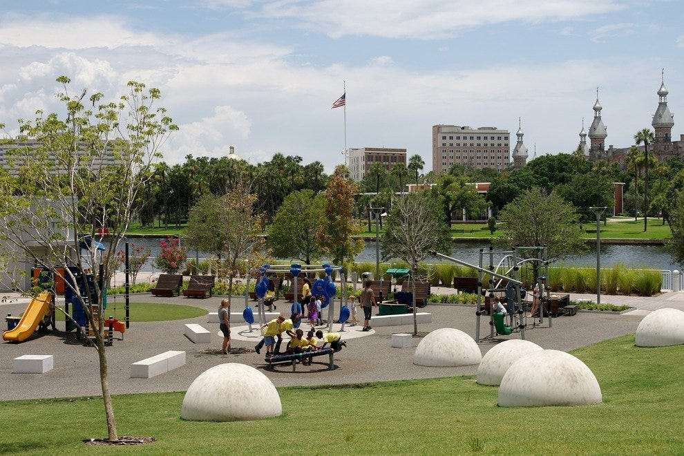 Kids will enjoy the large playground and adults will love the views at Curtis Hixon Park