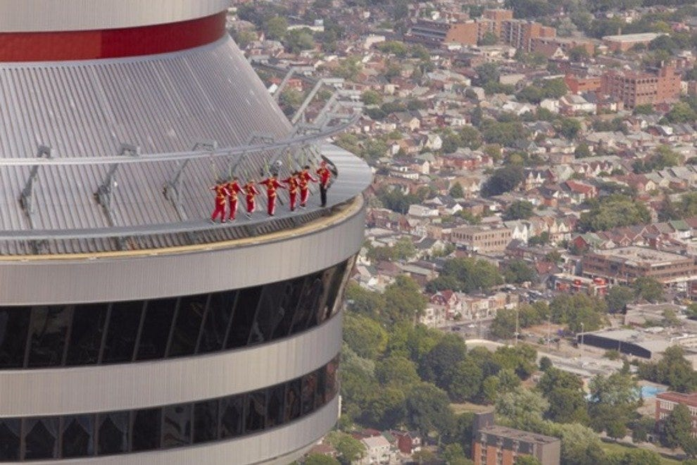 Adventurers get a unique view of Toronto from the CN Tower's EdgeWalk.