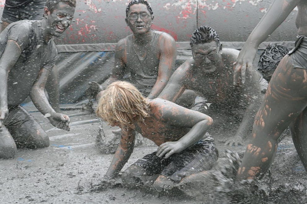 Mud wrestling at the Boryeong Mud Festival